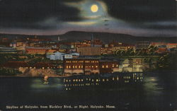 Skyline of Holyoke from Buckley Boulevard at Night