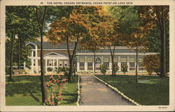 Hotel Cedars Entrance On Lake Erie Postcard