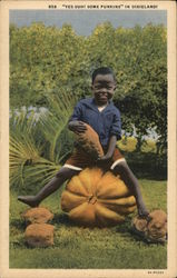 Young Boy Sitting On Pumpkin