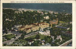 Aerial View Showing Ocean and New Palm Beach Hotel Postcard