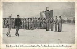 Brig. General O. L. Spiller, Commanding AATC at Fort Bliss, Texas, Inspects Anti-Aircraft Troops