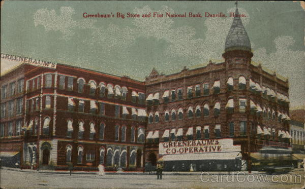 Greenbaum's Big Store and First National Bank Danville Illinois