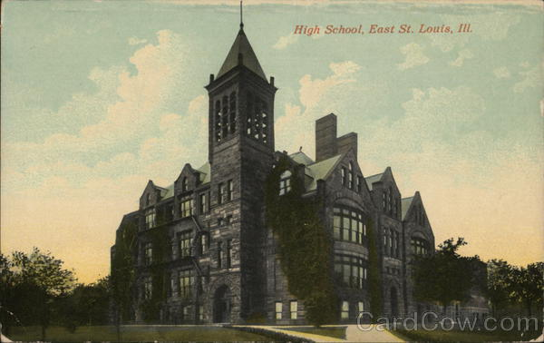 Saint Louis School >> High School Building East St. Louis, IL Postcard