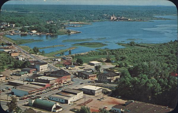 Aerial View of Town and Lake Montague Michigan