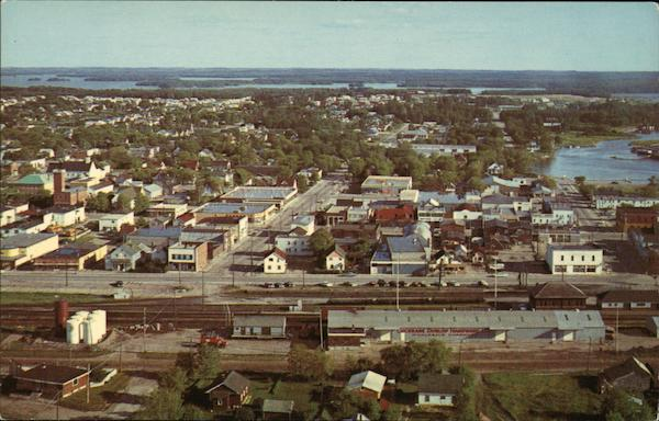 Aerial View of Town Dryden Canada Palmer Ontario