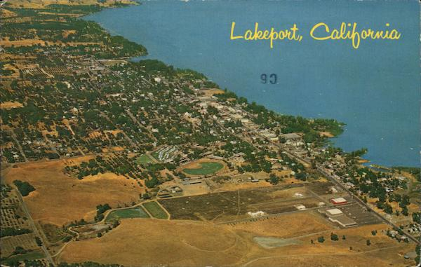 Aerial View of Town and Lake Lakeport California