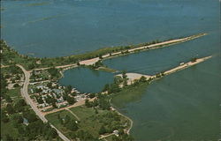 Air view of Grindstone Boat Basin Postcard