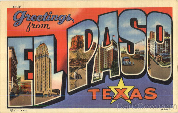Greetings From Elpaso El Paso Texas Large Letter