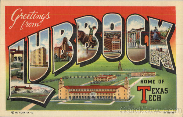 Greetings From Lubbock Texas Large Letter