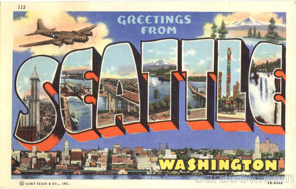 Greetings From Seattle Washington Large Letter