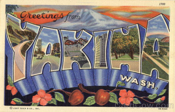 Greetings From Yakima Washington Large Letter
