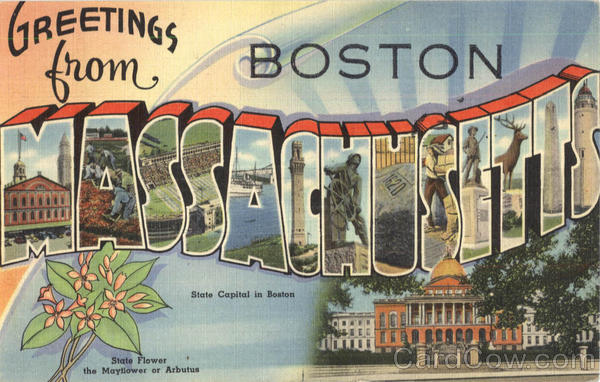Greetings From Massachusetts Boston Large Letter