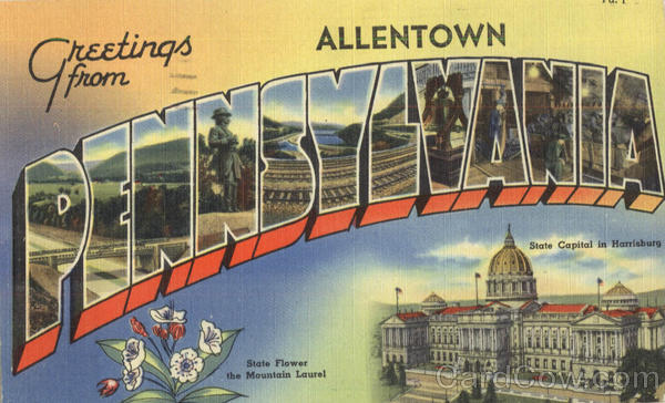 Greetings From Pennsylvania Allentown Large Letter