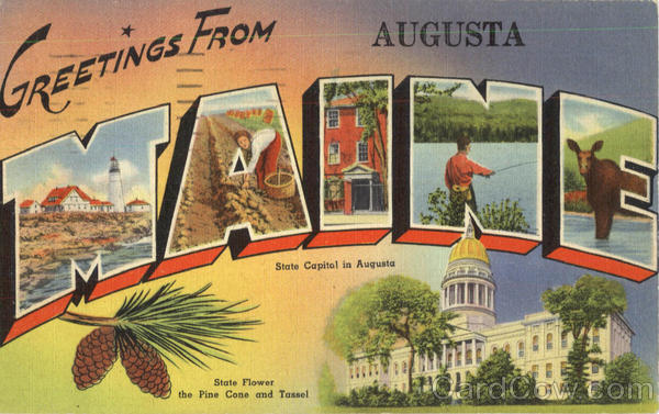 Greetings From Maine Augusta Large Letter