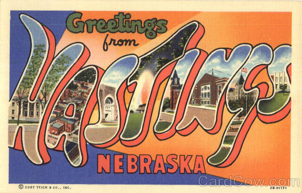 Greetings From Hastings Nebraska Large Letter