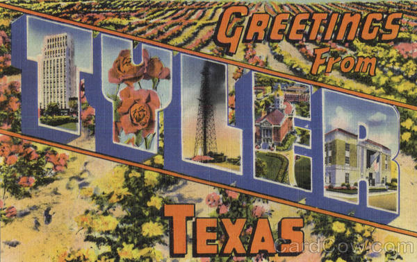 Greetings From Tyler Texas Large Letter