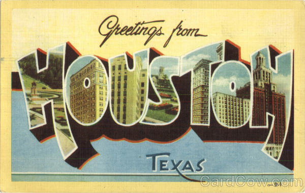 Greetings From Houston Texas Large Letter