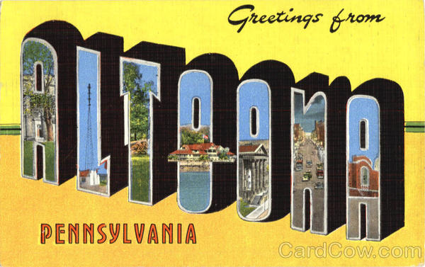 Greetings From Altoona Pennsylvania Large Letter