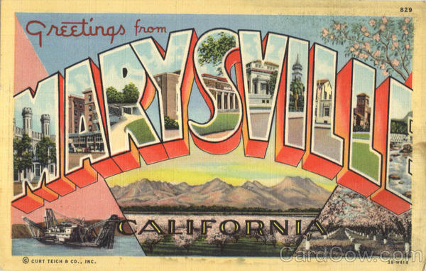 Greetings From Marysville California Large Letter