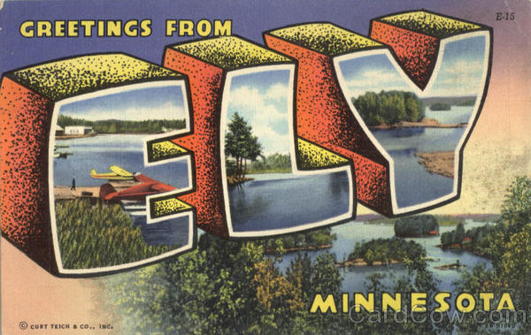 Greetings From Ely Minnesota Large Letter
