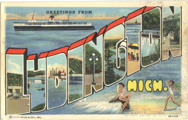 Greetings From Ludington Michigan Large Letter