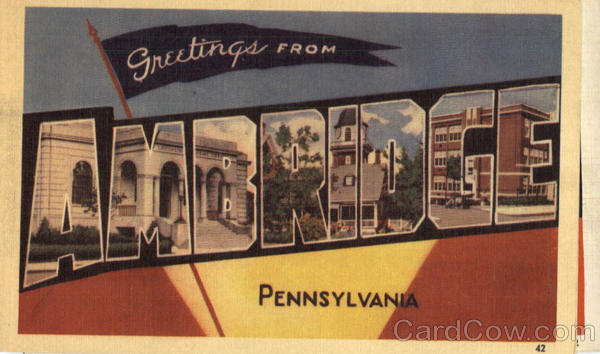Greetings From Ambridge Pennsylvania Large Letter