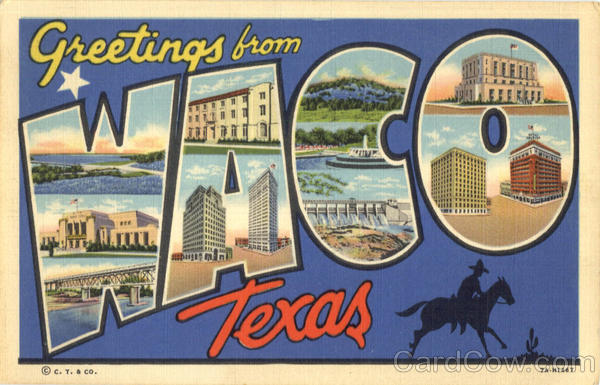 Greetings From Waco Texas Large Letter