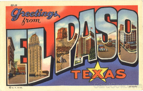 Greetings From El Paso Texas Large Letter