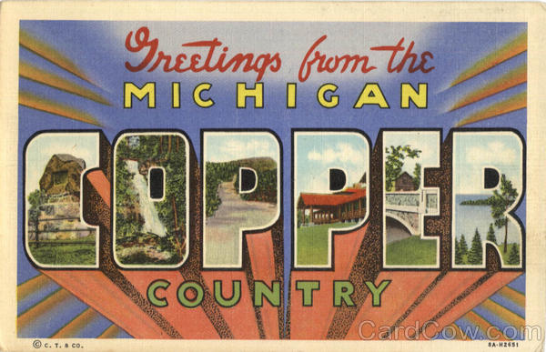 Greetings From Michigan Copper Country Large Letter