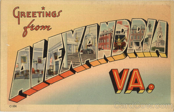 Greetings From Alexandria Virginia Large Letter