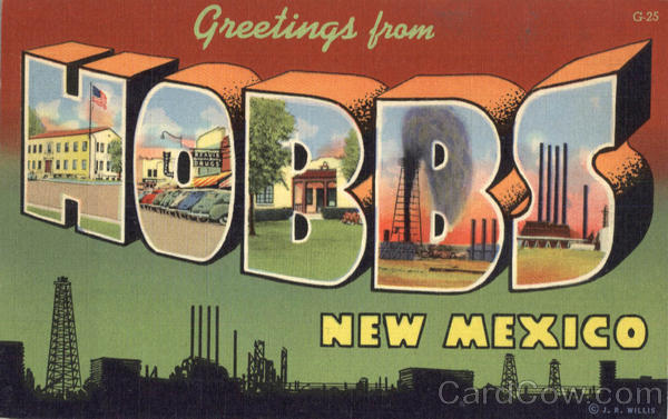 Greetings From Hobbs New Mexico Large Letter