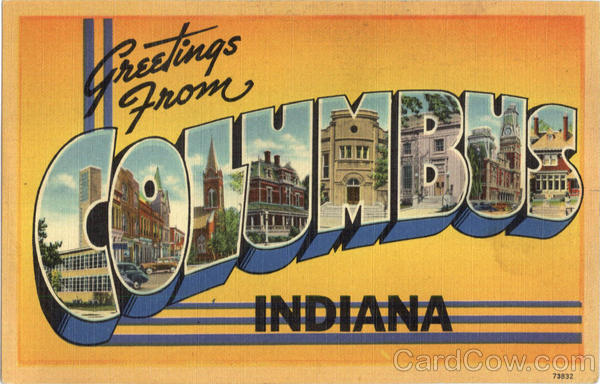 Greetings From Columbus Indiana Large Letter