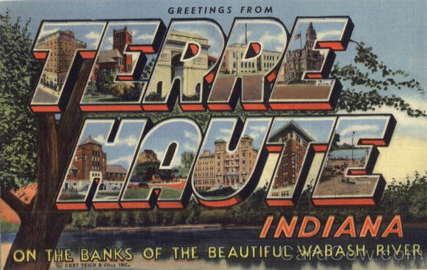 Greetings From Terre Haute Indiana Large Letter