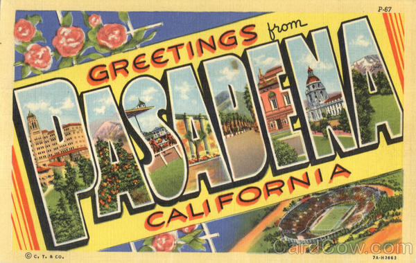 Greetings From Pasadena California Large Letter