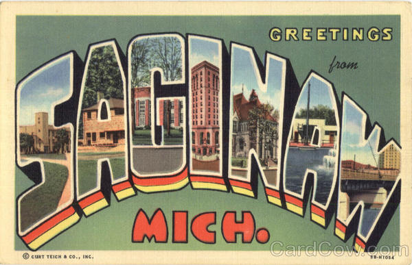 Greetings Saginaw Michigan Large Letter