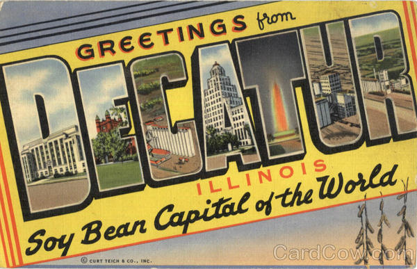 Greetings From Decatur Illinois Large Letter