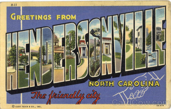Greetings From Hendersonville North Carolina Large Letter