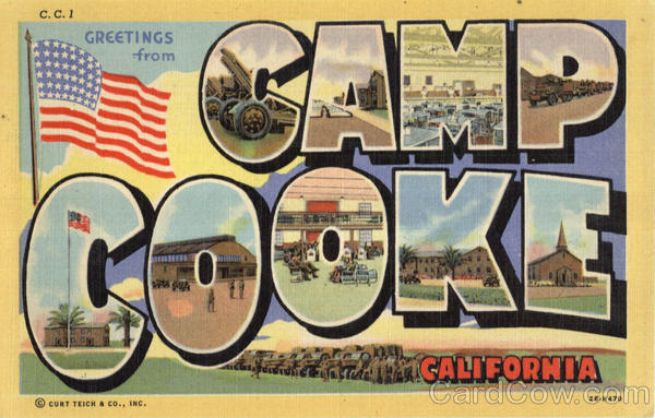 Greetings From Camp Cooke California Large Letter