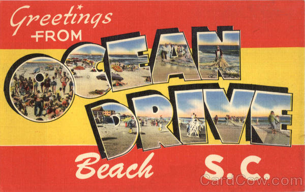Greetings From Ocean Drive Beach South Carolina Large Letter