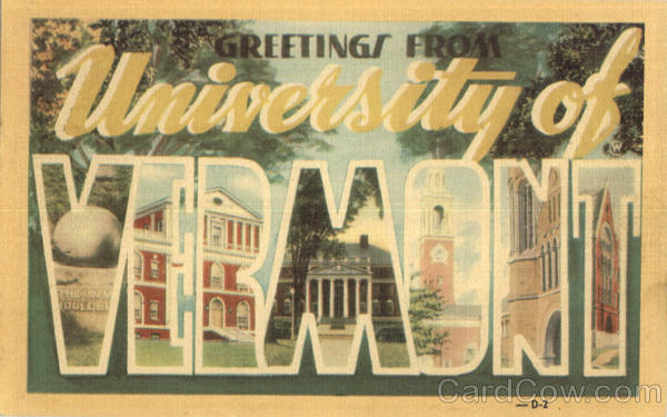 Greetings From University Of Vermont Large Letter