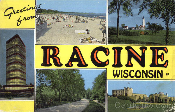 Greetings From Racine Wisconsin Large Letter