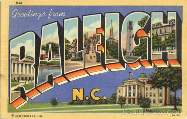 Greetings From Raleigh North Carolina Large Letter