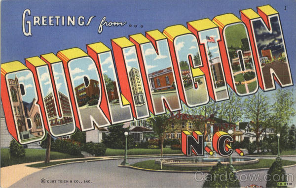 Greetings From Burlington North Carolina Large Letter