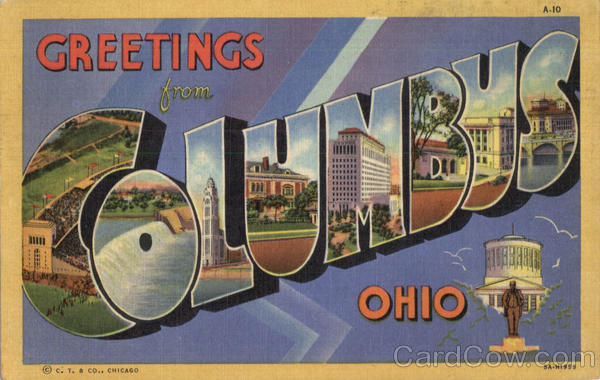 Greetings From Columbus Ohio Large Letter