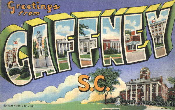 Greetings From Gaffney South Carolina Large Letter