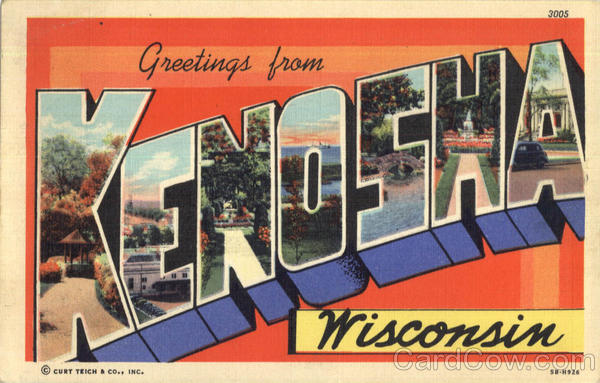 Greetings From Kenosha Wisconsin Large Letter