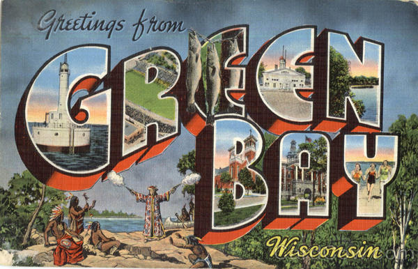 Greetings From Green Bay Wisconsin Large Letter