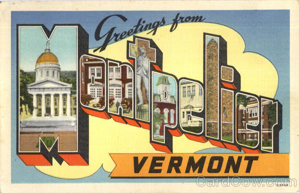 Greetings From Montpelier Vermont Large Letter