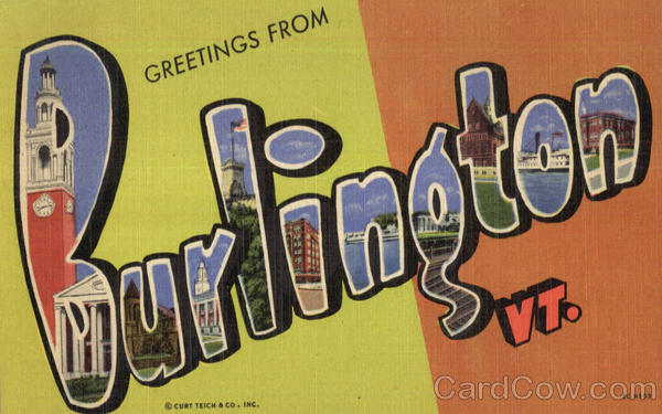 Greetings From Burlington Vermont Large Letter