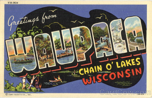 Greetings From Waupaca Wisconsin Large Letter